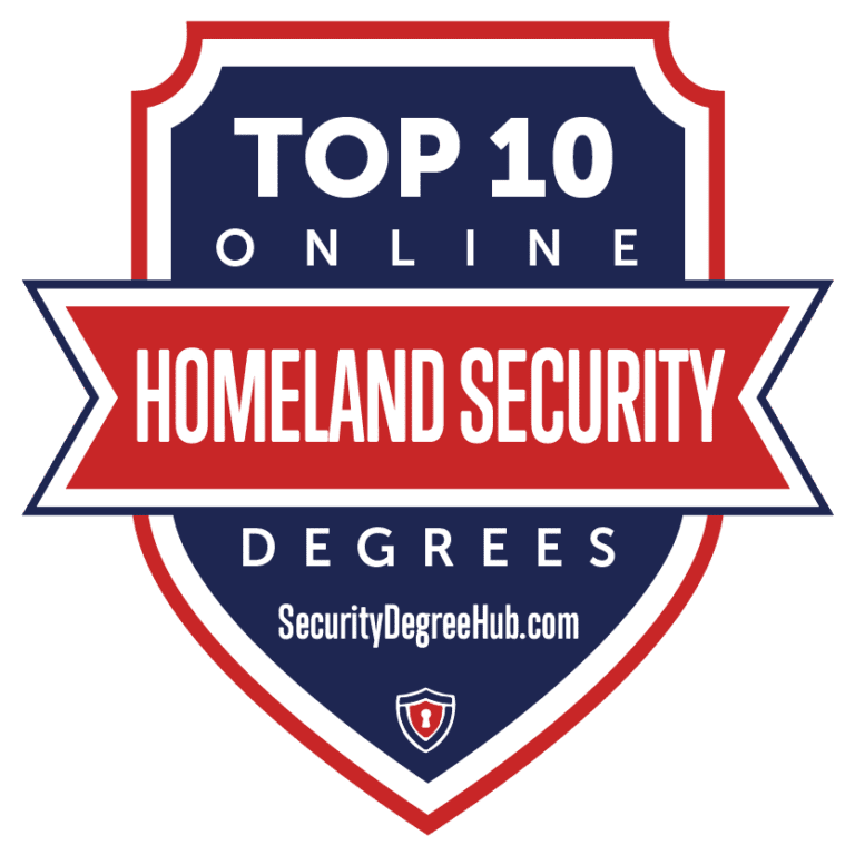 Top 10 Online Homeland Security Degrees badge by SecurityDegreeHub.