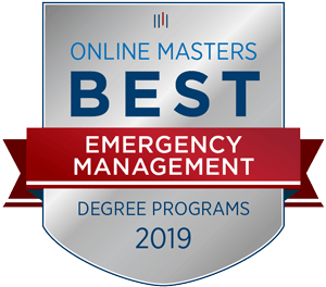 Online Masters Best Emergency Management Degree Programs badge for 2019