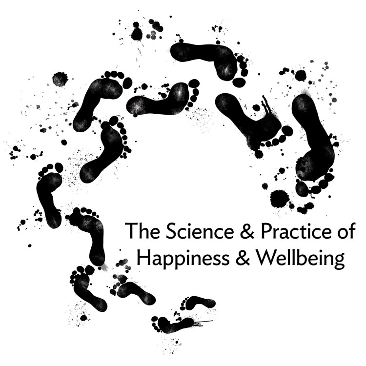 Black footprints circling the words TheScience and Practice of Happiness and Wellbeing