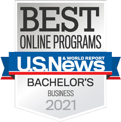A logo of the US News & World Report's 2020 Best Online Bachelor's Program