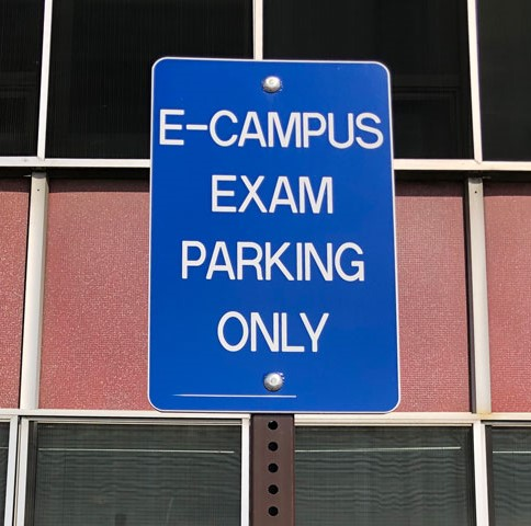 eCampus testing parking sign