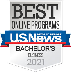 U.S. News & World Report's Best Online Programs Bachelor's Business Specialty badge for 2021