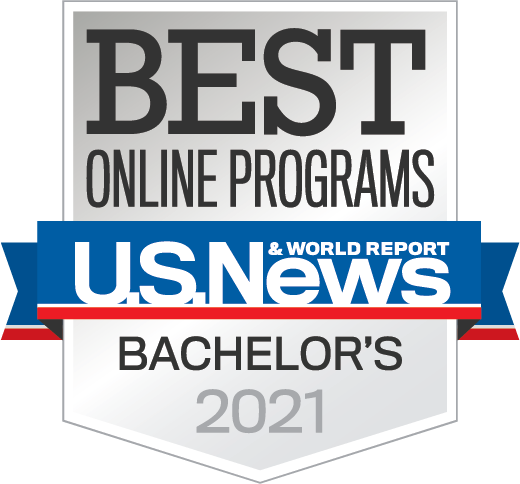 A logo of the US News & World Report's 2021 Best Online Bachelor's Program