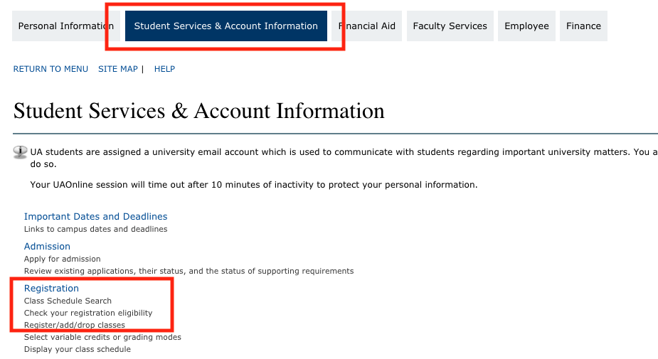 Click student services and then registration
